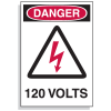Lockout Hazard Warning Labels- Danger 120 Volts w/ Graphic