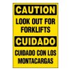 Ultra-Stick Signs - Caution Look Out For Forklifts (Bilingual)