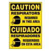 Ultra-Stick Signs - Caution Respirators Required (Bilingual)