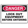 Lockout Hazard Warning Labels- Danger Lock Out Equipment Before Entering