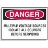 Lockout Hazard Warning Labels- Danger Multiple Voltage Sources