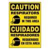 Ultra-Stick Signs - Caution Respirators Required (Bilingual)
