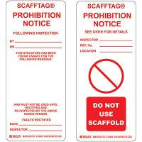 Prohibition Notice Scafftag Insert