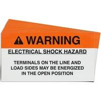 """""""Warning: Electrical Shock Hazard"""" Solar Warning Labels"""