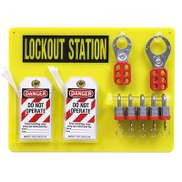 "5-Lock Board Filled W/ Brady 3/4"" Steel Padlocks"