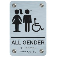 All Gender (Boy/Girl Accessibility Symbols) - Premium ADA Braille Restroom Signs