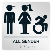 All Gender (Boy, Girl, Dynamic Accessibility) - Graphic Braille Signs