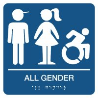All Gender Children's Restroom Sign with Braille (Boy, Girl, Dynamic Accessibility)