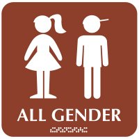 All Gender Children's Washroom Sign - Boy/Girl Graphic with Braille