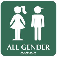 All Gender Children's Washroom Sign - Boy/Girl Graphic with Braille