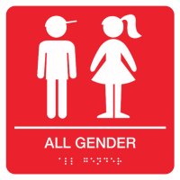 All Gender with Boy & Girl Graphic - Graphic Braille Signs