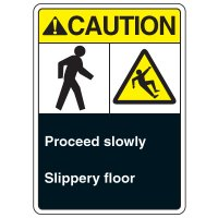 ANSI Multi-Message Safety Signs - Caution Proceed Slowly Slippery Floor