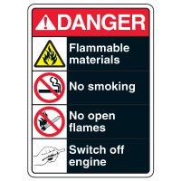 ANSI Multi-Message Safety Signs - Danger Flammable Materials