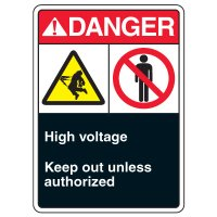 ANSI Multi-Message Safety Signs - Danger High Voltage