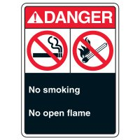 ANSI Multi-Message Safety Signs - Danger No Smoking No Open Flame