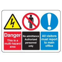 ANSI Multi-Message Safety Signs - Danger This Is A Multi-Hazard Area