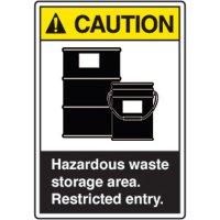 ANSI Safety Signs - Caution Hazardous Waste Storage Area