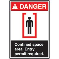 ANSI Safety Signs - Danger Confined Space Area