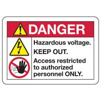 ANSI Z535 Safety Signs - Danger Hazardous Voltage Keep Out