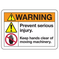ANSI Z535 Safety Signs - Keep Hands Clear Of Moving Machinery