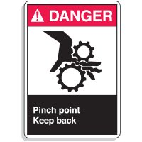 ANSI Z535.2-2011 Safety Signs - Danger Pinch Point Keep Back