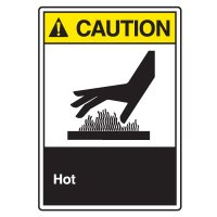 ANSI Z535 Safety Sign - Caution Hot