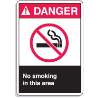 ANSI Z535 Safety Signs - Danger No Smoking Area