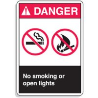 ANSI Z535 Safety Signs - Danger No Smoking Or Open Lights