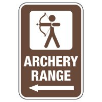 Archery Range with Left Arrow - Athletic Facilities Signs