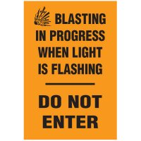 Blasting Barricade Sign Stands - Blasting In Progress When Light Is Flashing Do Not Enter