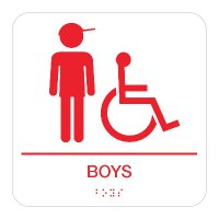 Boys (Accessibility) - Braille Restroom Signs