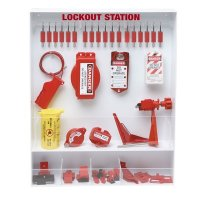 Brady Fully Equipped White Lockout Station - Contains 26 Components