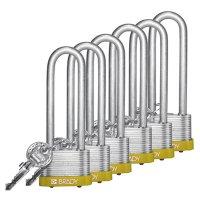 """Brady® Key Retaining 3"""" Shackle Steel Locks - Keyed Alike"""