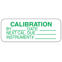 Calibration By Date Instrument #  Labels For Greasy Surfaces