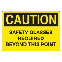 Eye Protection Signs - Safety Glasses Required Beyond This Point