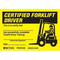 Certification Wallet Card - Certified Forklift Driver