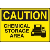Chemical & HazMat Signs - Caution Chemical Storage Area