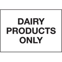 Cold Adhesion Safety Labels - Dairy Products Only