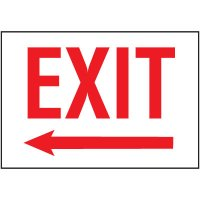 Cold Adhesion Safety Labels - Exit (W/ Left Arrow)