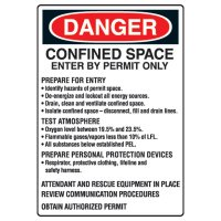 Confined Space Signs - Danger Confined Space Enter By Permit Only Prepare For Entry