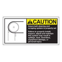 Conveyor Safety Labels - Caution Insure Belt Cleaning And Scraping System
