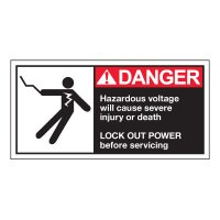 Conveyor Safety Labels - Danger Hazardous Voltage