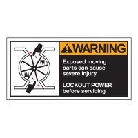 Conveyor Safety Labels - Warning Exposed Moving