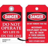 Disciplinary Danger Do Not Operate Tag