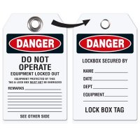 Danger Do Not Operate - Heavy Duty Plasti Lockout Tag