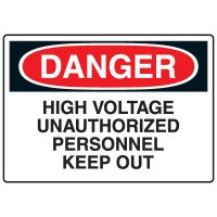 Electrical Hazard Signs - Danger High Voltage Unauthorized Personnel