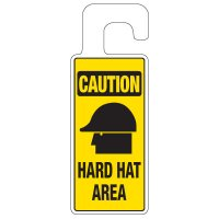 Door Knob Hangers - Caution Hard Hat Area