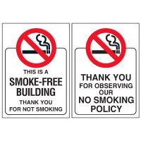 Double-Sided No Smoking Window Signs - THIS IS A SMOKE-FREE BUILDING