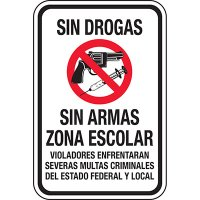 Drug Free Gun Free School Zone Spanish