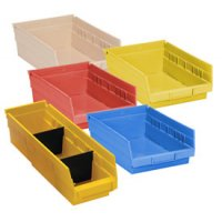 "Durable Plastic Shelf Bins 11-5/8""L x 6-5/8""W x 4""H"